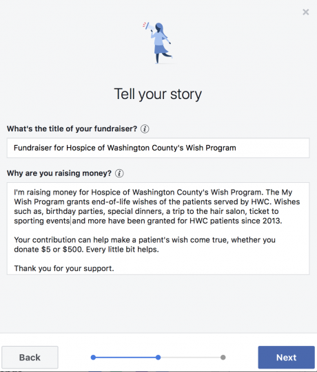 Adding a story to your fundraiser